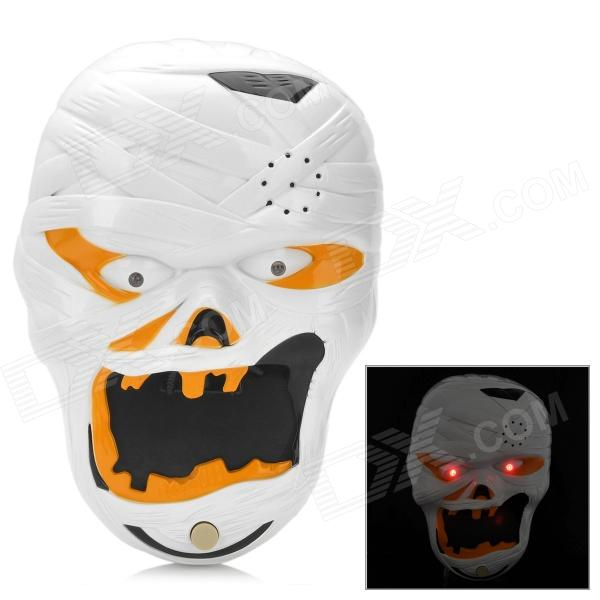 Halloween Spooky Mummy Style Doorbell w/ Talking Spider - White + Black (3 x AA) plastic standing human skeleton life size for horror hunted house halloween decoration