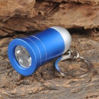 Mini Horn Style Aluminum Alloy 3-LED 1-Mode White Light Flashlight Keychain - Blue (3 x AG10)