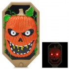 Halloween Spooky Pumpkin Doorbell w/ Talking Spider - Black + Khaki + Reddish Orange (3 x AA)