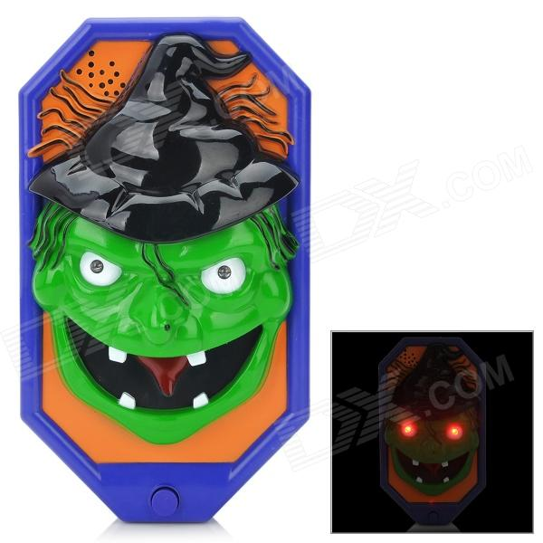 Halloween Spooky Witch Style Doorbell w/ Talking Spider - Green + Blue + Black (3 x AA)