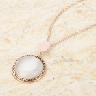 KCCHSTAR BK-404 Fashion Opal Shape 18K Gold Plated Alloy Pendant Necklace - Golden