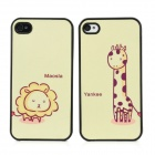 Cartoon Yankee Maosla Couple Plastic Hard Back Cases for Iphone 4 / 4S - Black + Yellow (2PCS)