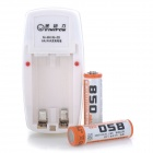 Viwipow CD850 2-Slot AA / AAA Charger w/ 2 AA 850mAh Batteries - White (AC 220~240V / US Plug)