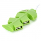 Unique Fish Bone Style 4-Port USB 2.0 Hub - Green