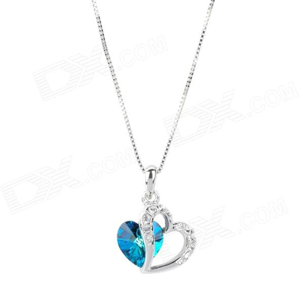 KCCHSTAR BK-32100 Fashion Heart Shape 18K Gold Plated Alloy Rhinestone Pendant Necklace - Silver crystal heart to heart 18k white gold plated necklace