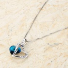 KCCHSTAR BK-32100 Fashion Heart Shape 18K Gold Plated Alloy Rhinestone Pendant Necklace - Silver