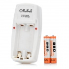Viwipow CD380 2-Slot AA / AAA Charger w/ 2 AAA 380mAh Batteries - White (AC 220~240V / US Plug)