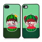 Cartoon Watermelon Boy Girl Couple Plastic Hard Case for Iphone 4 / 4S - Black + Green (2PCS)