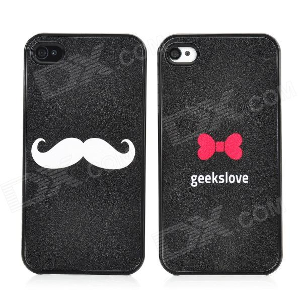 Cartoon Lover's Mustache and Red Bow Pattern Back Cases for Iphone 4 / 4S - Black cartoon pattern matte protective abs back case for iphone 4 4s deep pink