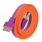 USB to Apple 30-pin Charging & Data Transmission Flat Cable - Purple + Orange + Weiß (100cm)
