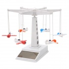 Solar Powered Flying Plane Tower Toy Set - White + Red + Blue