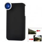 A-360 180 Degree Fisheye Lens w/ Protective Plastic Hard Back Case for iPhone 4/4S - Black + Silver
