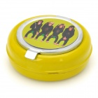 Exquisite 4-Monkey Pattern Iron Ashtray - Yellow