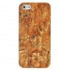 PU Leather Cover Wood Grain Style Protective PC Hard Back Case for Iphone 5 - Brown