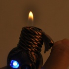 Stylish Zinc Alloy Skull Pattern Gas Lighter w / 2-LED Blue Lights - Bronze (3 x LR621)
