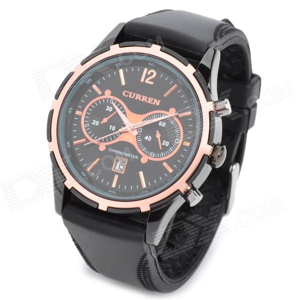где купить CURREN 8066 Fashion Rubber Band Quartz Analog Waterproof Wrist Watch - Black (1 x LR626) дешево