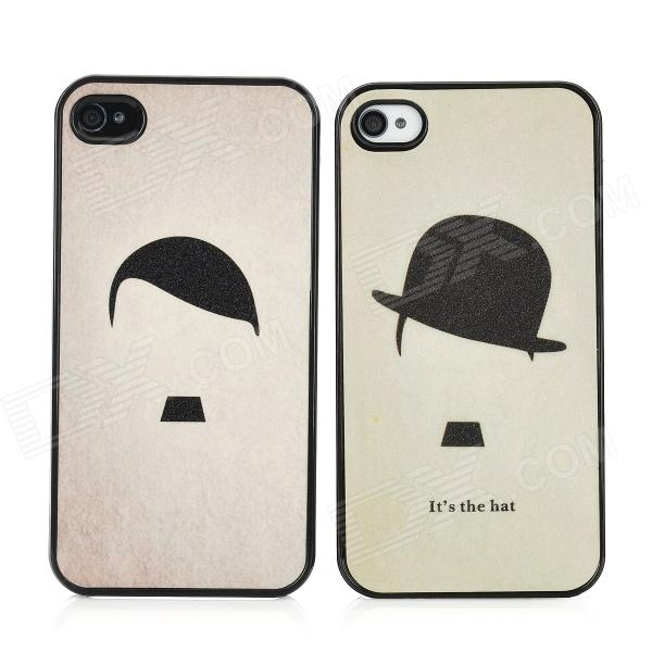 Cartoon Straw Hat Boy Girl Couple Plastic Back Case for Iphone 4 / 4S - Black + Yellow (2PCS) stetson men s breakers premium shantung straw hat