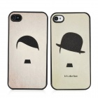 Cartoon Straw Hat Boy Girl Couple Plastic Back Case for Iphone 4 / 4S - Black + Yellow (2PCS)