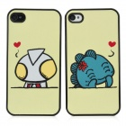 Ultraman & Monster Lovers Pattern Protective Plastic Back Cases for Iphone 4 / 4S - Yellow (2 PCS)