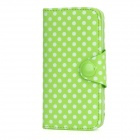 DK-0 Polka Dot Style Protective Flip Open PU Leather Case w/ Card Slot for Iphone 5 - Green + White
