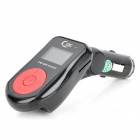 "FM105 0.9"" LCD Car MP3 Player FM Transmitter with Remote Controller - Black + Red (12~24V)"
