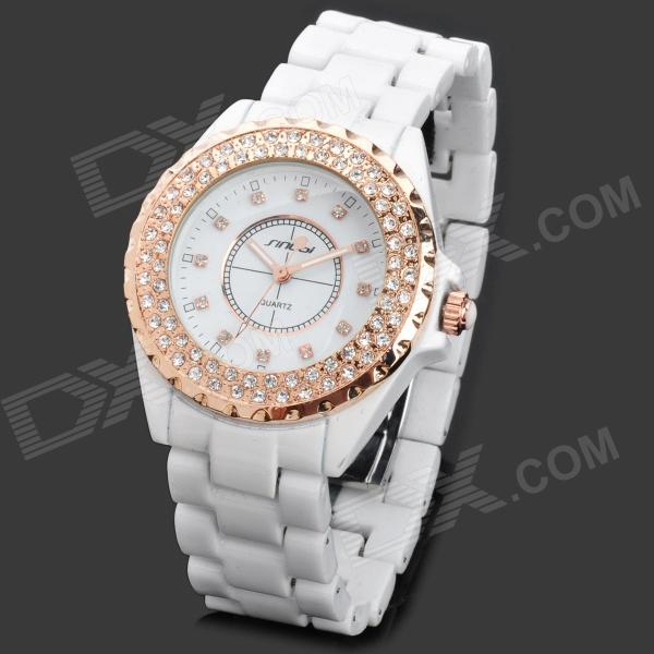 SINOBI 9688 Fashion Ceramic Band Quartz Analog Waterproof Wrist Watch - White (1 x LR626)