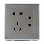 SMEONG Leather Pattern 3-Power Sockets Wall Mount Plate - Metal Grey (AC 250V)
