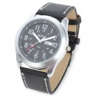 Fashion PU Band Quartz Digital Waterproof Wrist Watch w/ Calendar - Black (1 x LR626)