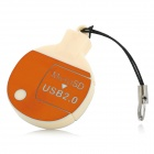 Ping Pong Racket Style 360 Degrees Rotation USB 2.0 Card Reader - Orange
