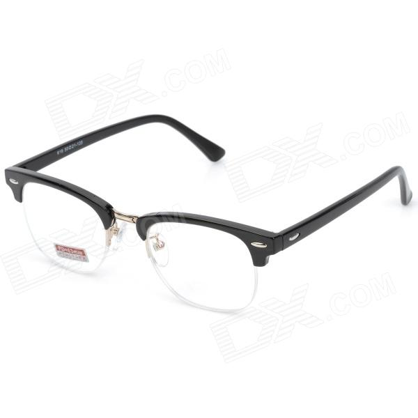Old Man 100 619 Retro 200 Degrees Resin Lens PC Frame Reading Glasses - Black old man 100 619 retro 250 degrees resin lens pc frame reading glasses black