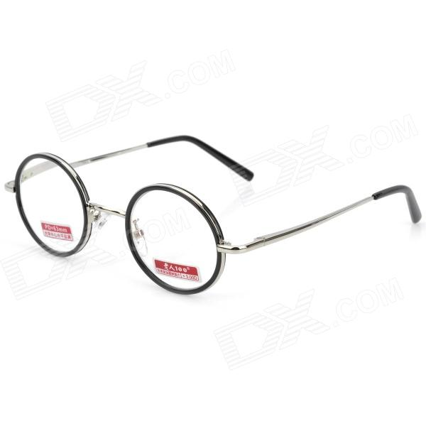 Old Man 100 618 Retro 300 Degrees Resin Lens Zinc Alloy Frame Reading Glasses - Silver old man 100 619 retro 250 degrees resin lens pc frame reading glasses black