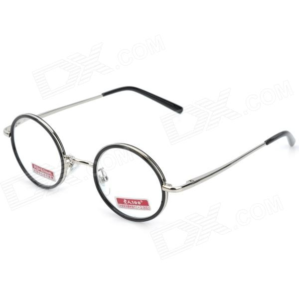Old Man 100 618 Retro 2.0D Resin Lens Zinc Alloy Frame Reading Glasses - Silver old man 100 619 retro 250 degrees resin lens pc frame reading glasses black