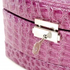 Alligator Pattern PU Leather 3-Layer Cosmetic / Jewelry Storage Box w/ Mirror - Purple