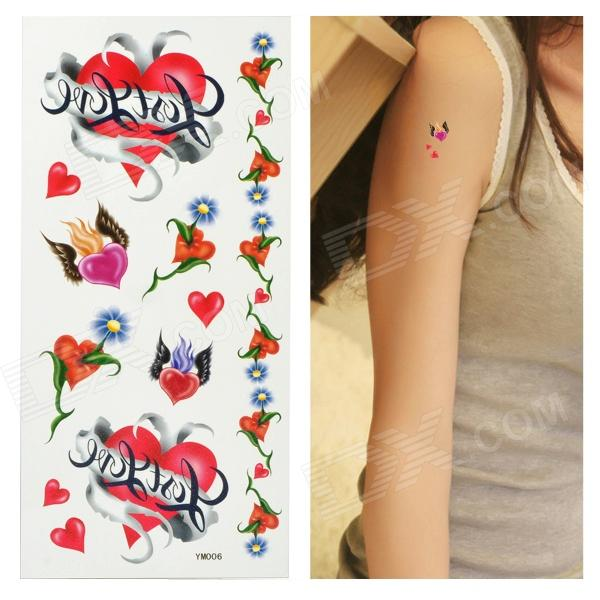 Heart Pattern Tattoo Paper Sticker - Red fragile warranty sticker shall be null and void the warranty and black and red round 0 25 cm vulnerable if mobile