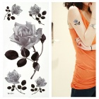 Rose Pattern Tattoo Paper Sticker - Black + White