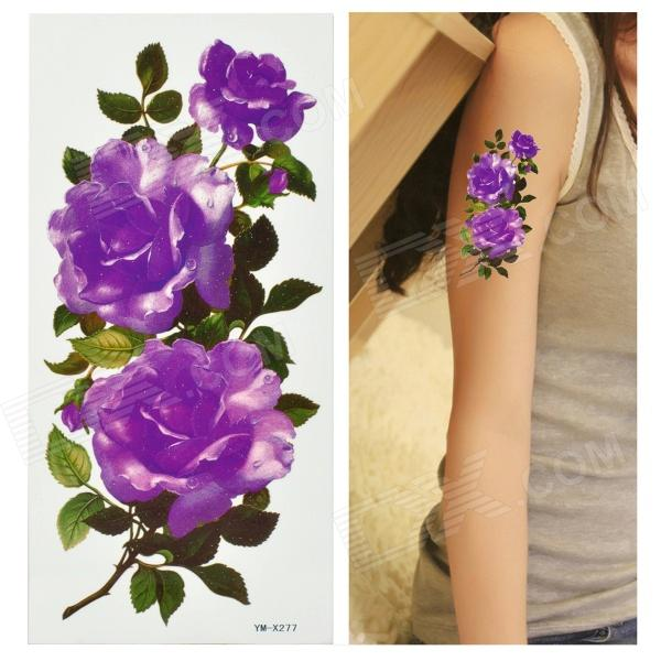 Peony Pattern Tattoo Paper Sticker - Purple + Green