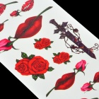 Lips Rose Pattern Tattoo Paper Sticker - Red