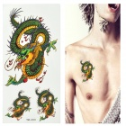 Dragon Pattern Tattoo Paper Sticker - Green + Yellow