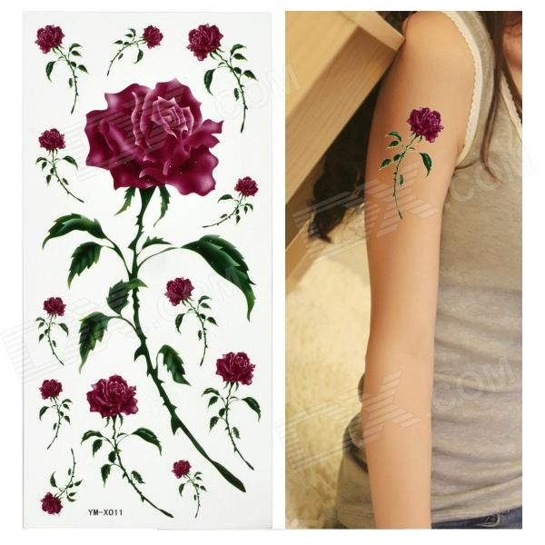 Rose Pattern Tattoo Paper Sticker - Purple + Green 2016 popular blue color 8 pcs a set ni cd 4 5 subc sub c 1 2v 2200mah rechargeable battery with tab blue