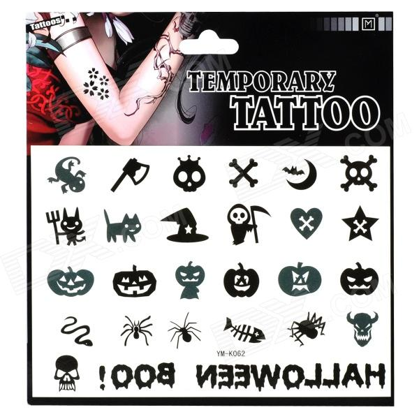 Skull and Pumpkin Pattern Tattoo Paper Sticker - Black + White fragile warranty sticker shall be null and void the warranty and black and red round 0 25 cm vulnerable if mobile