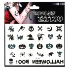 Skull and Pumpkin Pattern Tattoo Paper Sticker - Black + White
