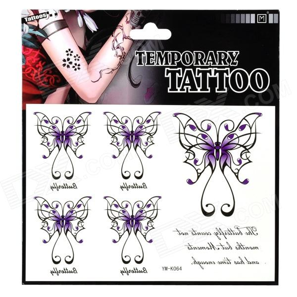 Butterfly Pattern Tattoo Paper Sticker - Black + Purple