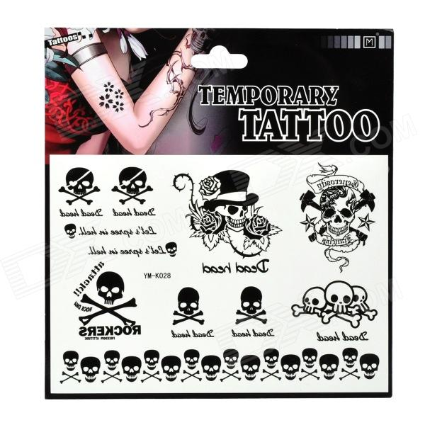 Skull Pattern Tattoo Paper Sticker - Black + White