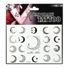Moon Pattern Tattoo Paper Sticker - Black + White