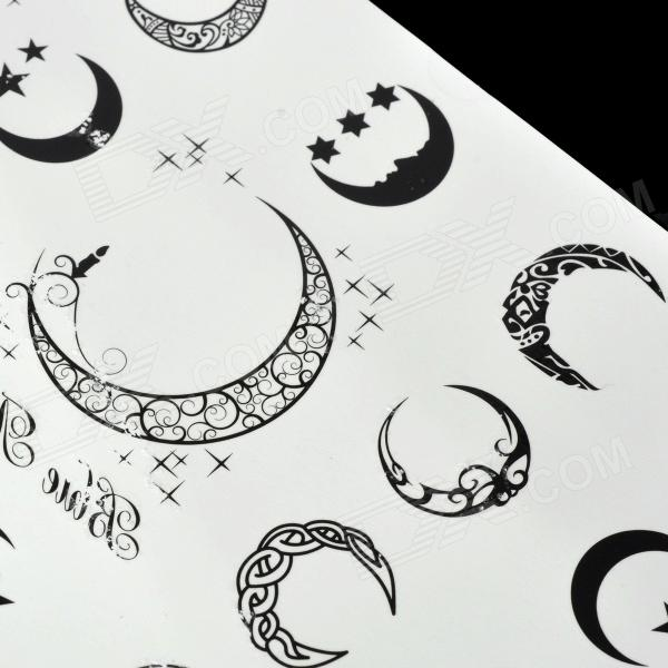 Moon pattern tattoo paper sticker black white for Printable tattoo paper