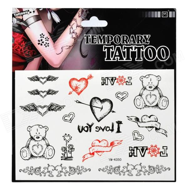 Heart and Bear Pattern Tattoo Paper Sticker - Black + Red fragile warranty sticker shall be null and void the warranty and black and red round 0 25 cm vulnerable if mobile
