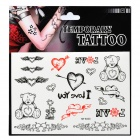 Heart and Bear Pattern Tattoo Paper Sticker - Black + Red