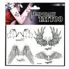 Wing Pattern Tattoo Paper Sticker - Black + White