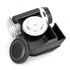 Compact Motorcycle Air Horn with Relay - Black + Silver (12V)