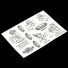 Little Angel Pattern Tattoo Paper Sticker - Black + White